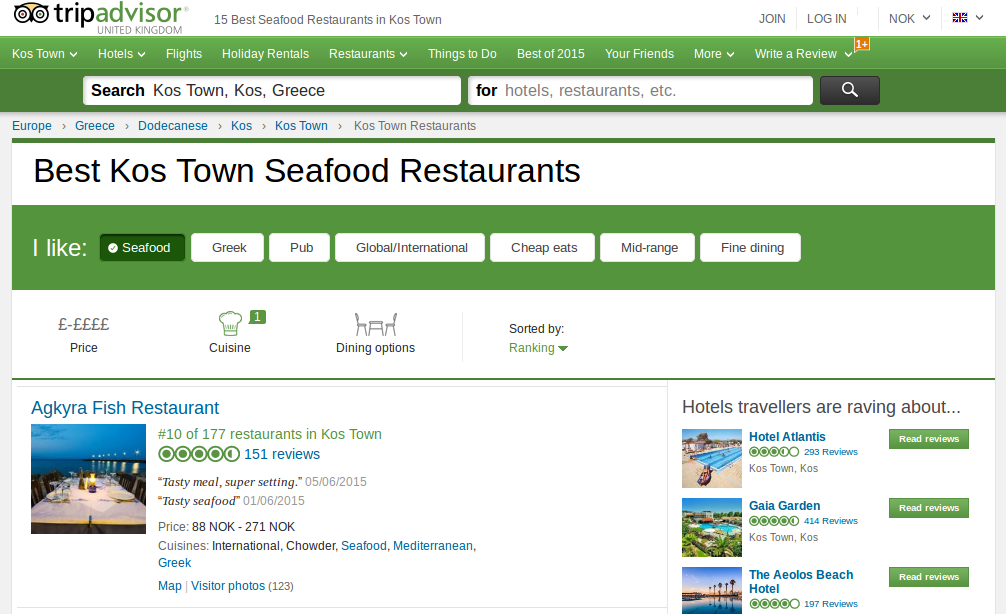 The best seafood restaurant in Kos town according to Tripadvisor